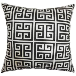 "Link to Paros Greek Key 24"" x 24"" Down Feather Throw Pillow Black White Similar Items in Decorative Accessories"