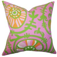 Janek Floral 24-inch Down Feather Throw Pillow Pink