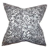 Daija Floral 24-inch Down Feather Throw Pillow Gray