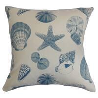 Rata Aquatic 24-inch Down Feather Throw Pillow White Blue