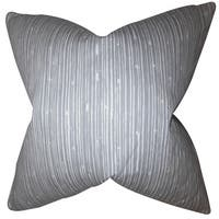 Hecuba Stripes 24-inch Down Feather Throw Pillow Light Gray