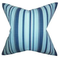 Gautier Stripes 24-inch Down Feather Throw Pillow Blue