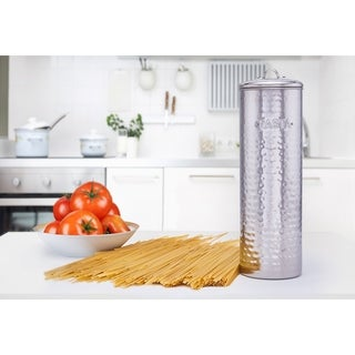 "Hammered Stainless Steel Pasta Canister, 12"" H."