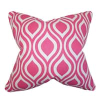 Poplar Geometric 24-inch Down Feather Throw Pillow Candy Pink