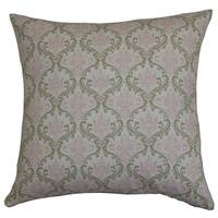 Paulomi Damask 24-inch Down Feather Throw Pillow Green Pink