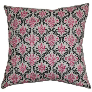 Paulomi Damask 24-inch Down Feather Throw Pillow Black Pink