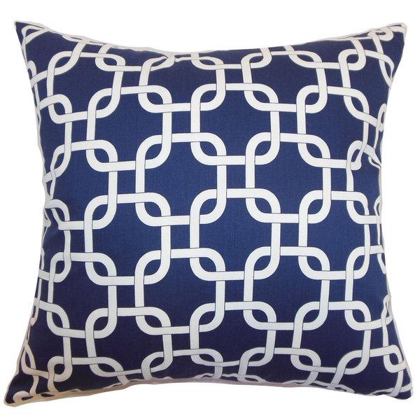 Qishn Geometric 24-inch Feather Throw Pillow Blue Twill