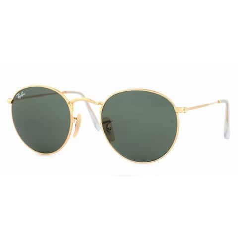Ray-Ban Round Metal RB3447 Unisex Gold Frame Green Classic 53mm Lens Sunglasses