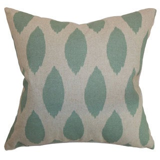 "Juliaca Ikat 24"" x 24"" Down Feather Throw Pillow Eaton Blue Linen"