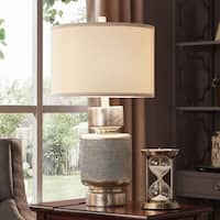 iNSPIRE Q Classic Gracie Antique Silver Polyresin/Linen Table Lamp