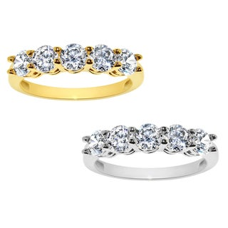 14k Yellow or White Gold 1 7/8ct TGW Round-cut Cubic Zirconia 5-Stone Ring - Clear