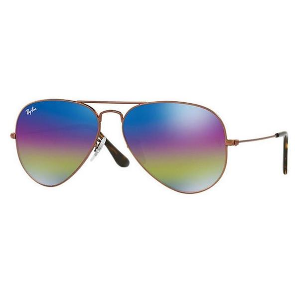 f7f6fa4659 Shop Ray-Ban Aviator Mineral Flash RB3025 Unisex Bronze-Copper Frame Blue Rainbow  Flash 58mm Lens Sunglasses - Free Shipping Today - Overstock - 15370831