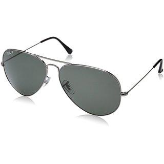 46835f7cb7 Ray-Ban Aviator Classic RB3025 Unisex Gunmetal Frame Polarized Green 62mm  Lens Sunglasses