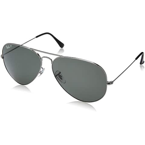 Ray-Ban Aviator Classic RB3025 Unisex Gunmetal Frame Polarized Green 62mm Lens Sunglasses