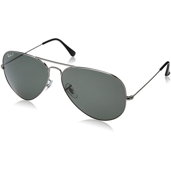 cb4aedadc5b Ray-Ban Aviator Classic RB3025 Unisex Gunmetal Frame Polarized Green 62mm  Lens Sunglasses