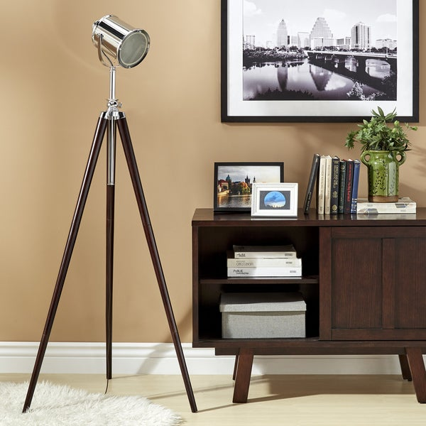 iNSPIRE Q Baxter Brown/Silver Metal Spotlight Tripod Floor Lamp
