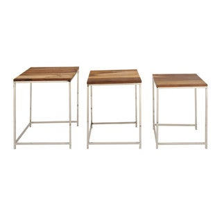 Benzara Wood and Iron Nesting Side Tables (Set of 3)