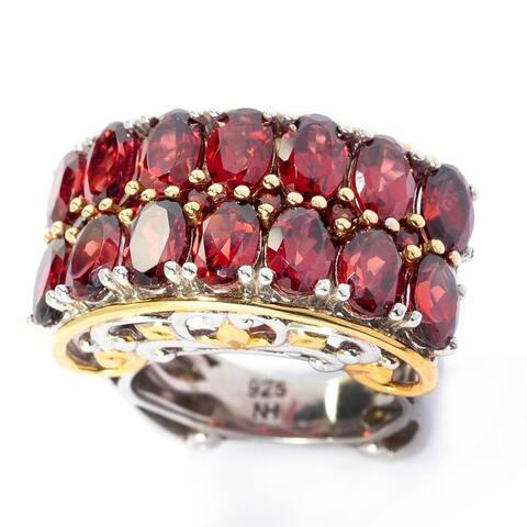 Gems en Vogue Palladium Silver Mozambique Garnet Double-Row High-Set Ring