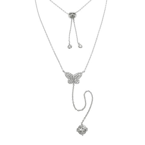 Eternally Haute Solid Sterling Silver Pave Butterfly Y Necklace