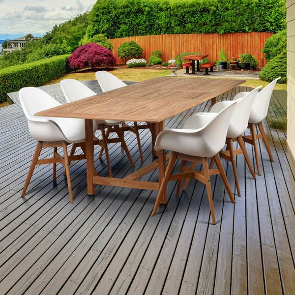 White Wood Dining Set: Shop Amazonia Deluxe Hawaii White Wood/Resin 7-Piece