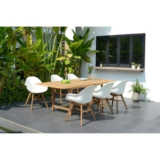 Amazonia Deluxe Hawaii White Wood/Resin 7-Piece Rectangular Patio Dining Set