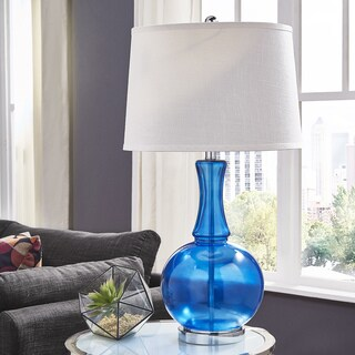 kinsey blue glass table lamp by inspire q bold
