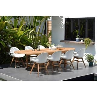 Ia Deluxe Hawaii White Wood Resin 9 Piece Double Extendable Rectangular Patio Dining Set