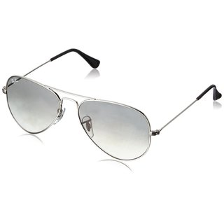 Ray-Ban Aviator RB3025 Unisex Silver Frame Light Grey Gradient 55mm Lens Sunglasses