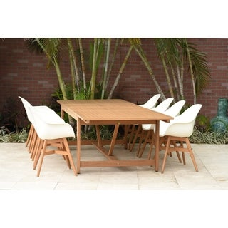 Amazonia Deluxe Hawaii White Wood 9-Piece Rectangular Patio Dining Set