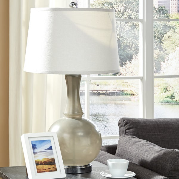 Kinsey Grey Glass Table Lamp by iNSPIRE Q Bold