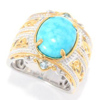 Michael Valitutti Palladium Silver Bird's Eye Turquoise & Swiss Blue Topaz Wide Band Ring