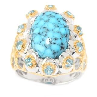 Michael Valitutti Palladium Silver Kingman Spiderweb Turquoise & Swiss Blue Topaz Flower Ring