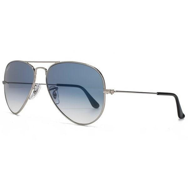 043ab3a4ef54c Ray-Ban Aviator RB3025 Unisex Silver Frame Light Blue Gradient 62mm Lens  Sunglasses
