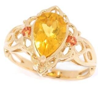 Michael Valitutti 14K Gold Yellow Beryl & Orange Sapphire Teardrop Ring