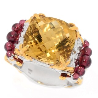 Michael Valitutti Palladium Silver Paris Cushion Citrine & Graduated Garnet Bead Ring