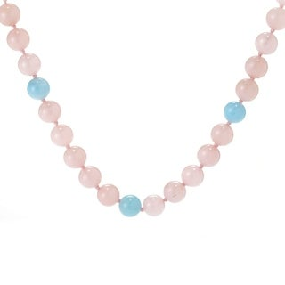 Michael Valitutti Palladium Silver Aquamarine & Rose Quartz Bead Toggle Necklace