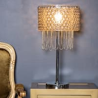 River of Goods Champagne Plated Glass and Draped Chain Fringe 24-inch High Table Lamp