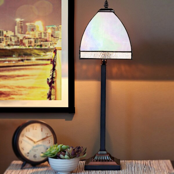 River of Goods Stained Glass Opalescent Bent-panel Table Lamp