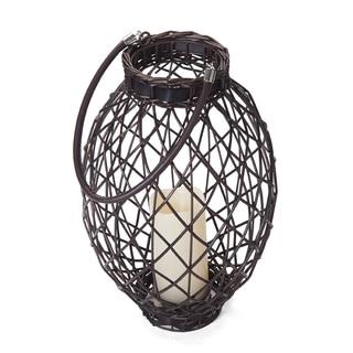 Elements 15in LED Dark Brown Oval Wicker Lantern