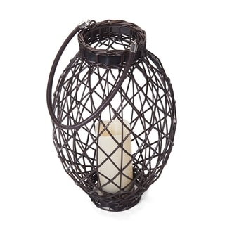 Elements 15in LED Dark Brown Oval Wicker Lantern