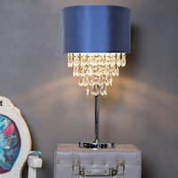 Silver Orchid Yorke Chrome Finished 25.75-inch high Crystal Tiered Table Lamp with Navy Shade