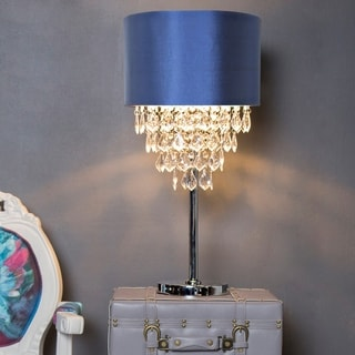 Lovely Chrome Finished 25.75 Inch High Crystal Tiered Table Lamp With Navy Shade