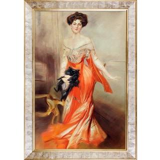 Giovanni Boldini 'Portrait of Elizabeth Wharton Drexel, 1905' Hand Painted Framed Oil Reproduction on Canvas