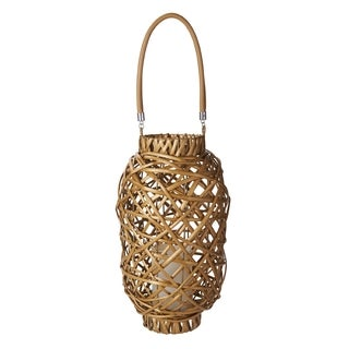 Elements 13.7in Led Honey Cylinder Wicker Lantern