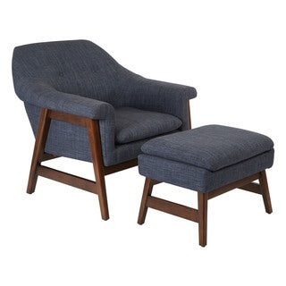 Carson Carrington Balestrand Medium Espresso Fabric Chair and Ottoman