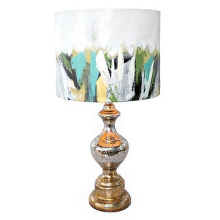 River of Goods Contemporary Painted Brushstroke Shade Mercury Glass Base Table Lamp