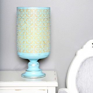 "15""H Distressed Metal Geometric Hurricane Accent Table Lamp - Blue"