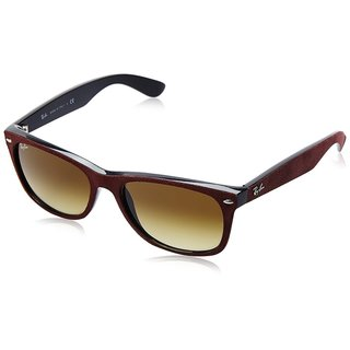 Ray-Ban New Wayfarer Soft Touch RB2132 Unisex Bordeaux Frame Brown Gradient 55mm Lens Sunglasses
