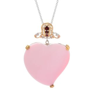 Michael Valitutti Palladium Silver Carved Heart Shaped Pink Conch Shell & Garnet Pendant