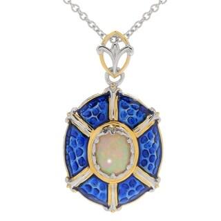 Michael Valitutti Palladium Silver Ethiopian Opal & Blue Enamel Medallion Pendant